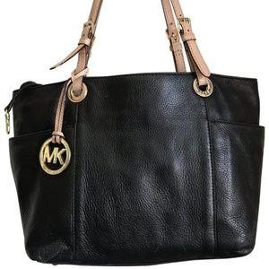 Michael Kors Medium Leather Shoulder Bag - Black